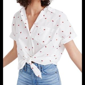 Madewell strawberry button up